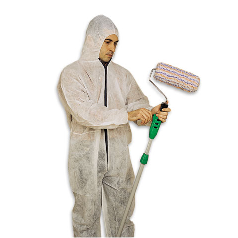 Painter overall, protective hood and goggles